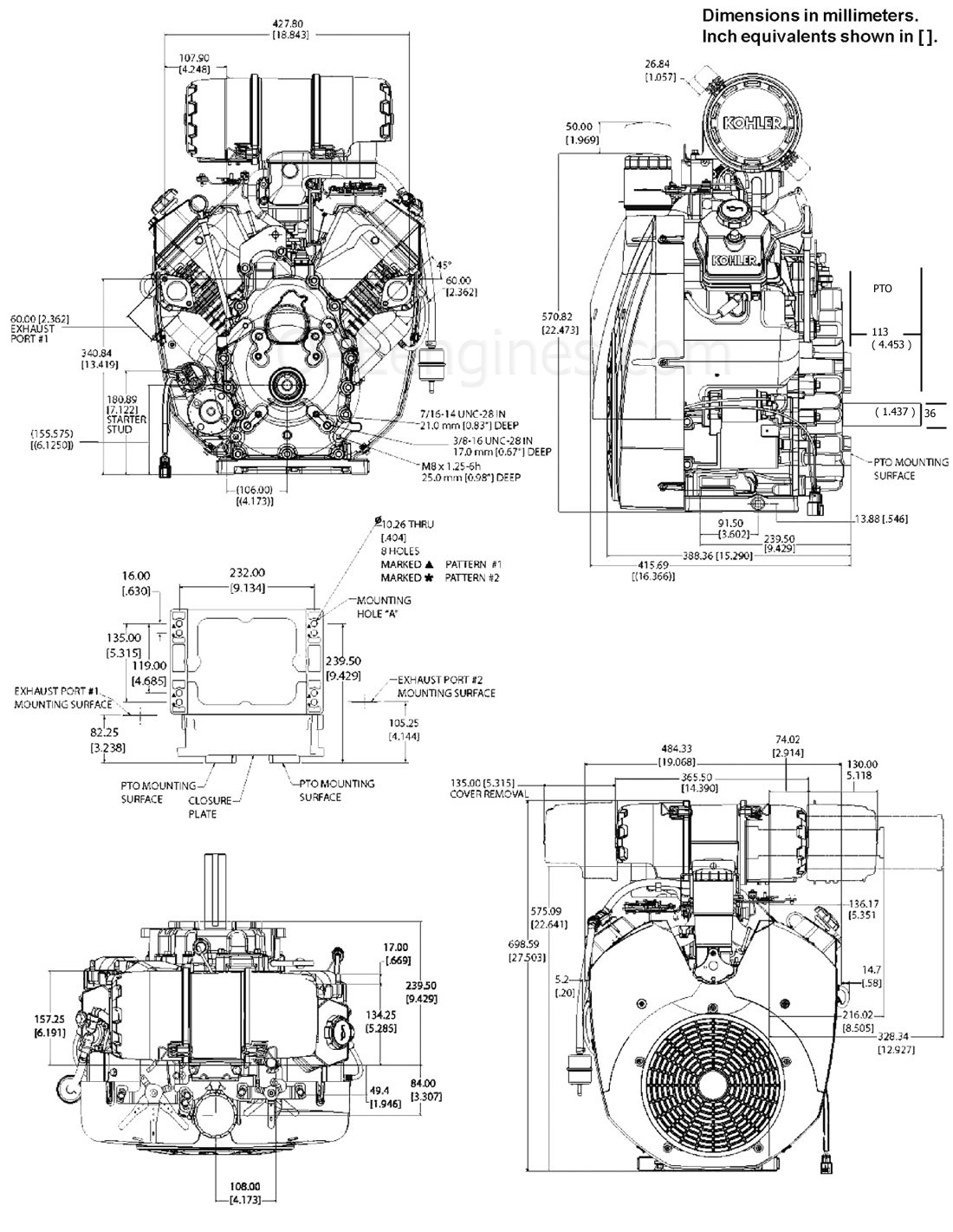 CH980_drawings ch940 ch960 ch980 ch1000 drawings kohler engines and parts store Kohler CH20S Carburetor Linkage at bayanpartner.co