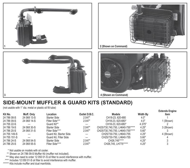 Side Mount Mufflers CH : Kohler Engines and Parts Store, OPEengines.com
